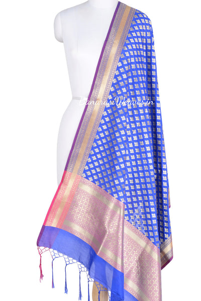 Blue Art Silk Banarasi Dupatta with mini lotus motifs (1) Main