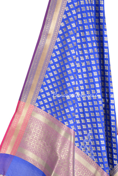 Blue Art Silk Banarasi Dupatta with mini lotus motifs (2) Close up