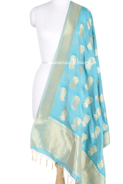 Sky Blue Banarasi dupatta with Dolls motifs (1) Main