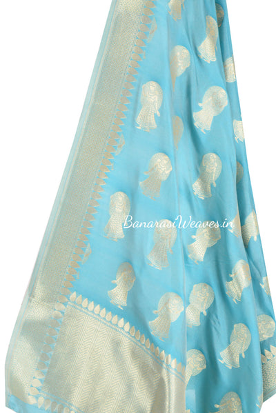 Sky Blue Banarasi dupatta with Dolls motifs (2) Close up