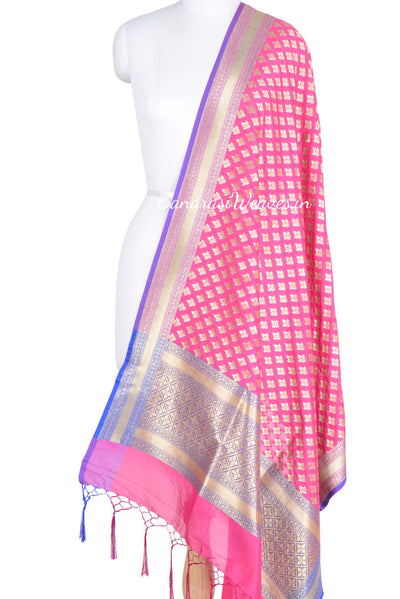 Magenta Art Silk Banarasi Dupatta with mini lotus motifs (1) Main