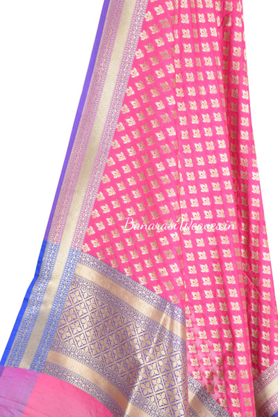 Magenta Art Silk Banarasi Dupatta with mini lotus motifs (2) Close up