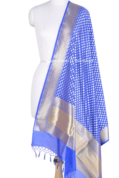 Cobalt Blue Banarasi dupatta with fine zari work (1) Main