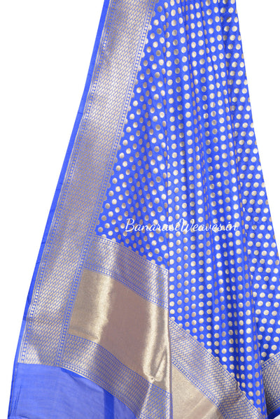 Cobalt Blue Banarasi dupatta with fine zari work (2) Close up