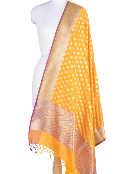 Yellow Banarasi dupatta with paan motifs (1) Main