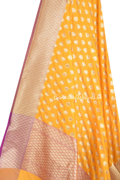 Yellow Banarasi dupatta with paan motifs (2) Close up