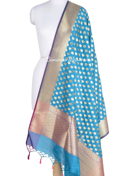 Blue Banarasi dupatta with paan motifs  (1) Main