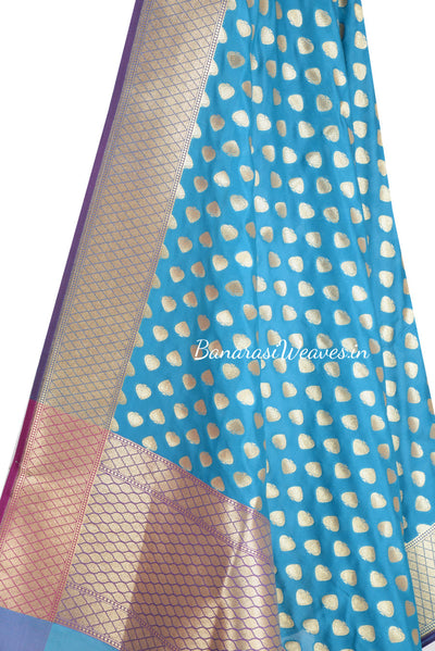 Blue Banarasi dupatta with paan motifs  (2) Close up