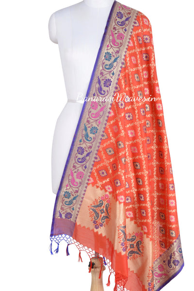 Red Pink Art Silk Banarasi Dupatta with ornamental jaal (1) Main
