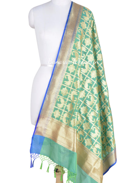 Green Banarasi Dupatta with peacock and geometric motifs (1) Main