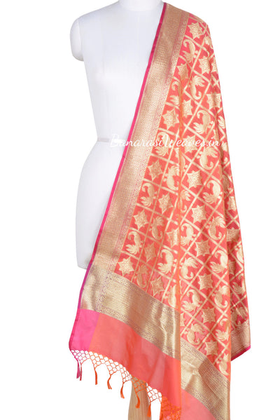 Red Banarasi Dupatta with peacock and geometric motifs (1) Main