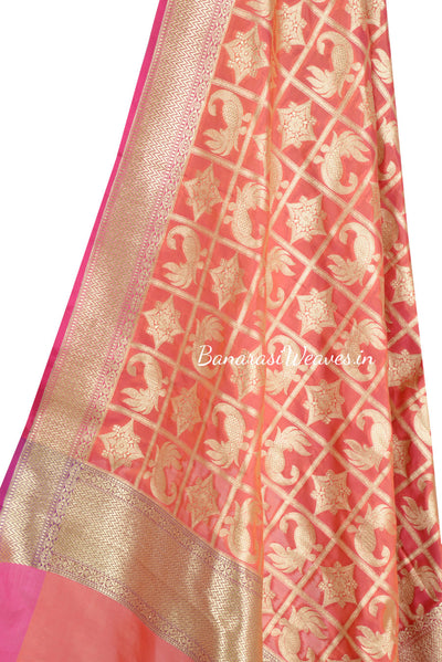 Red Banarasi Dupatta with peacock and geometric motifs (2) Close up