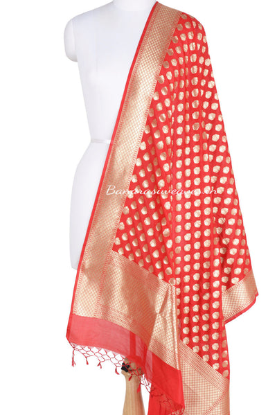 Red Banarasi Dupatta abstract shaped motifs (1) Main