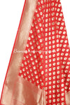 Red Banarasi Dupatta abstract shaped motifs (2) Close up