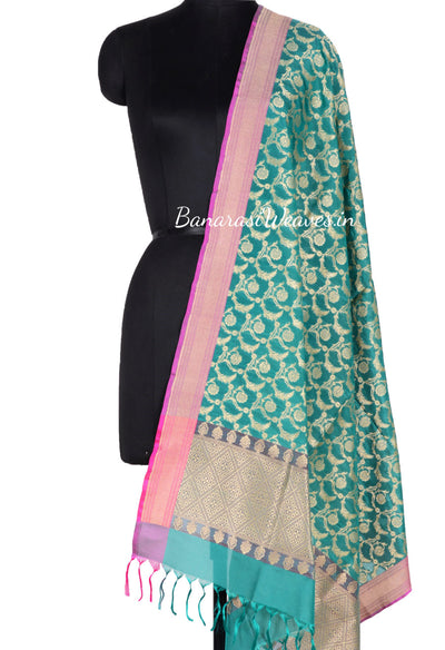 Dark Green Art Silk Banarasi Dupatta with floral motifs in leaf jaal (1) Main