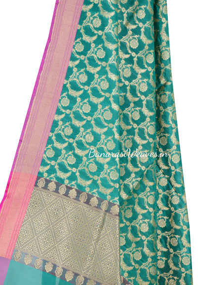 Dark Green Art Silk Banarasi Dupatta with floral motifs in leaf jaal (2) Close up