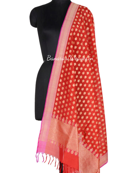 Red Banarasi Silk Dupatta with mini flower booti (1) Main