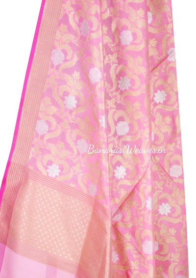 Baby Pink Katan Silk Banarasi Dupatta with elegant flower jaal (2) Close up