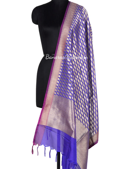 Purple Art Silk Banarasi Dupatta with stylized diagonal jaal (1) Main