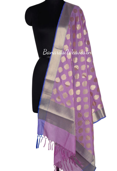 Lavender Art Silk Banarasi Dupatta with pygmy water-lily motifs (1) Main