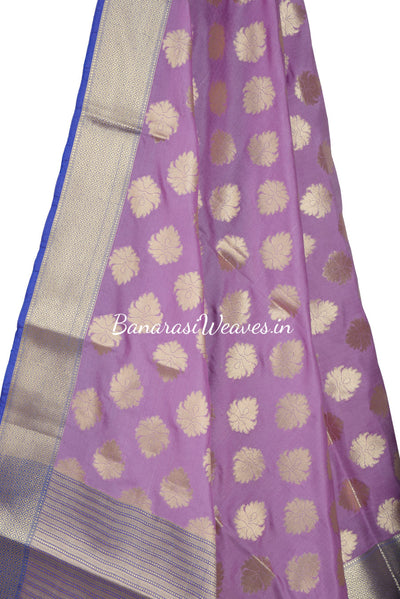 Lavender Art Silk Banarasi Dupatta with pygmy water-lily motifs (2) Close up