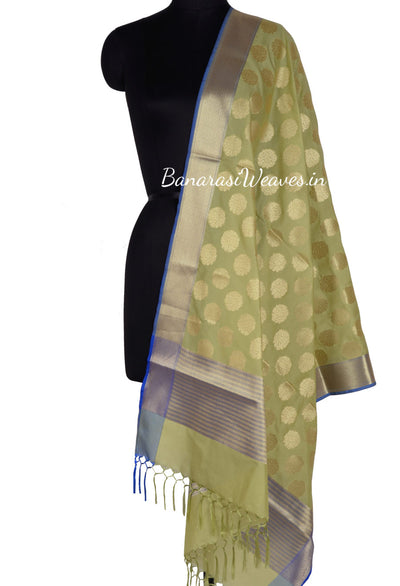 Olive Green Art Silk Banarasi Dupatta with stem and leaf in circular shape (1) Main