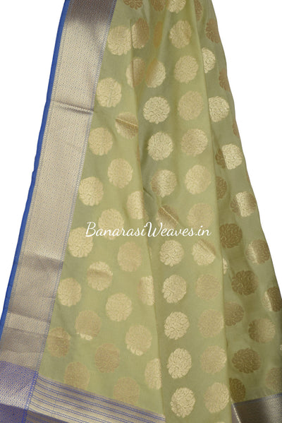 Olive Green Art Silk Banarasi Dupatta with stem and leaf in circular shape (2) Close up