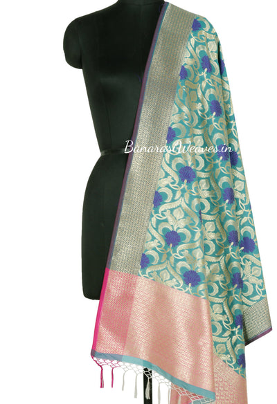 Turquoise Banarasi Dupatta with Blue Resham Flower and Golden Jaal work (1) Main