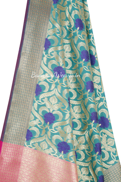 Turquoise Banarasi Dupatta with Blue Resham Flower and Golden Jaal work (2) Close up