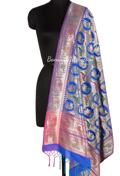 Royal Blue Art Silk Banarasi Dupatta with elephant and parrot motifs (1) Main