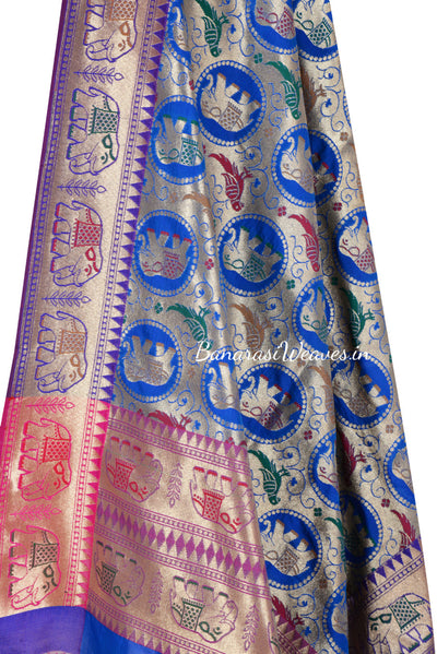 Royal Blue Art Silk Banarasi Dupatta with elephant and parrot motifs (2) Close up