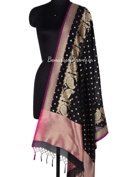 Black Art Silk Banarasi Dupatta with polka dots and leaf motif (1) Main