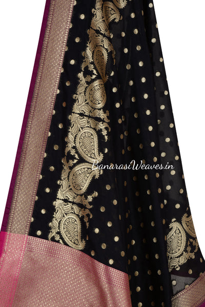 Black Art Silk Banarasi Dupatta with polka dots and leaf motif (2) Close up