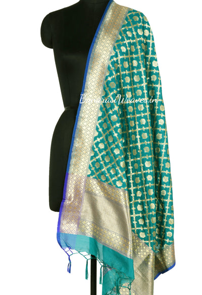Dark Green Art Silk Banarasi Dupatta with floral motifs in grid pattern jaal (1) Main