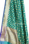 Dark Green Art Silk Banarasi Dupatta with floral motifs in grid pattern jaal (2) Close up