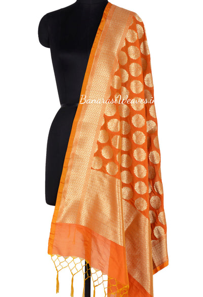 Dark Orange Art Silk Banarasi Dupatta with Artistic oval motifs (1) Main