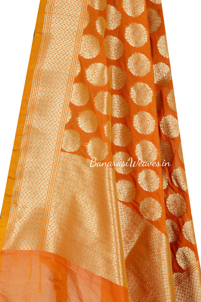 Dark Orange Art Silk Banarasi Dupatta with Artistic oval motifs (2) Close up