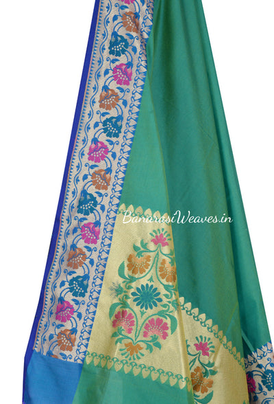 Plain Dark Green Banarasi Dupatta with beautiful aanchal and border (2) Close up