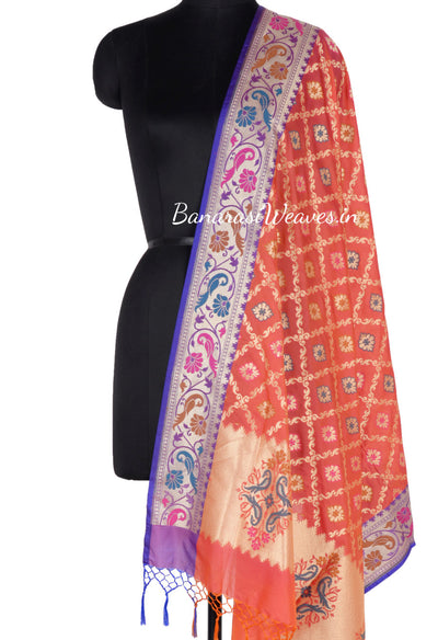 Red Orange Art Silk Banarasi Dupatta with ornamental jaal (1) Main