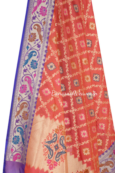 Red Orange Art Silk Banarasi Dupatta with ornamental jaal (2) Close up