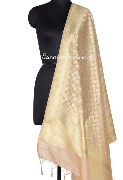 Beige Art Silk Banarasi dupatta with delicate flower and leaf jaal (1) Main