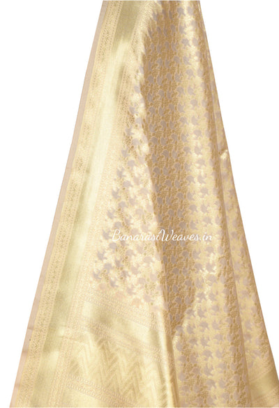 Beige Art Silk Banarasi dupatta with delicate flower and leaf jaal (2) Close up