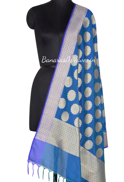 Saphire Blue Art Silk Banarasi dupatta with stylized artistic boota (1) Main