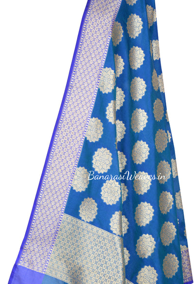 Saphire Blue Art Silk Banarasi dupatta with stylized artistic boota (2) Close up