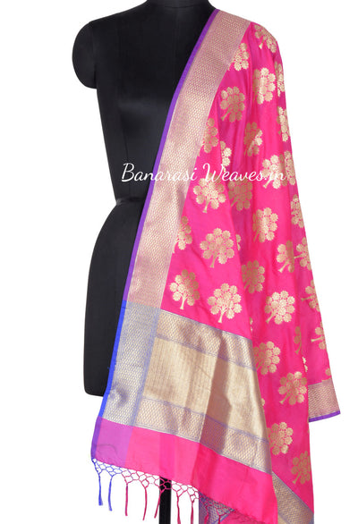 Magenta Art Silk Banarasi dupatta with tree motifs (1) Main
