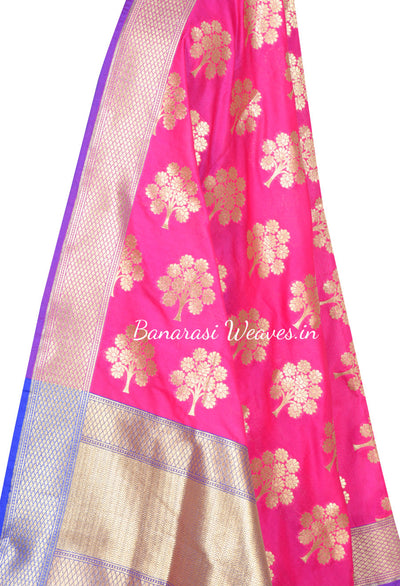 Magenta Art Silk Banarasi dupatta with tree motifs (2) Close up
