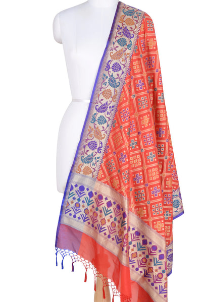 Red Orange Banarasi Dupatta with patan patola design and meenakari border (1) Main