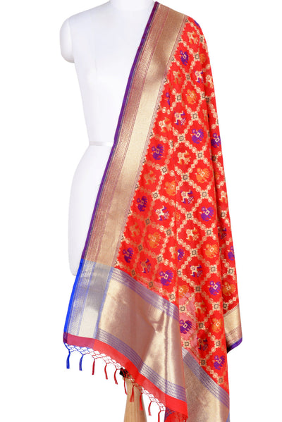 Red Banarasi Dupatta with patan patola design (1) Main