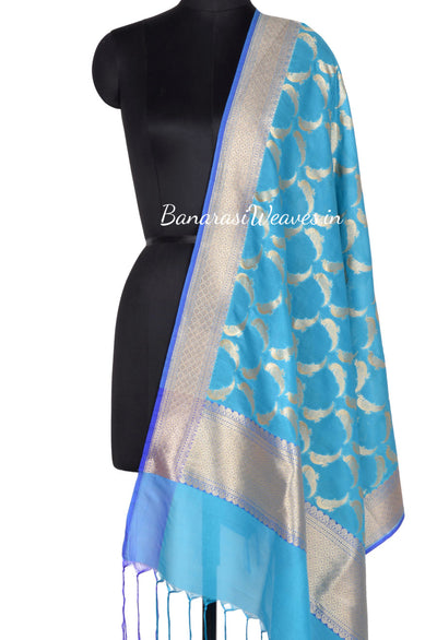 Sky Blue Art SilkBanarasi Dupatta with bird motifs (1) Main
