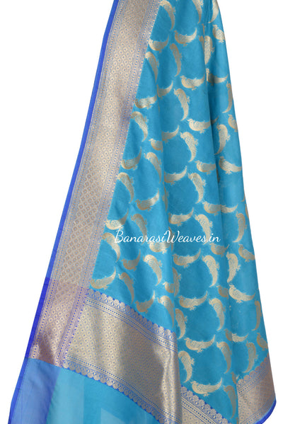 Sky Blue Art SilkBanarasi Dupatta with bird motifs (2) Close up
